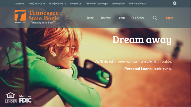 Screenshot of Tennessee State Bank's website